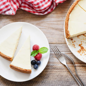Classic New York cheesecake with a creamy satiny texture