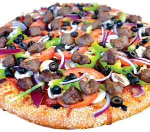 Pepperoni, Italian sausage, Canadian bacon, green peppers, onions, olives, fresh mushrooms, fresh tomatoes