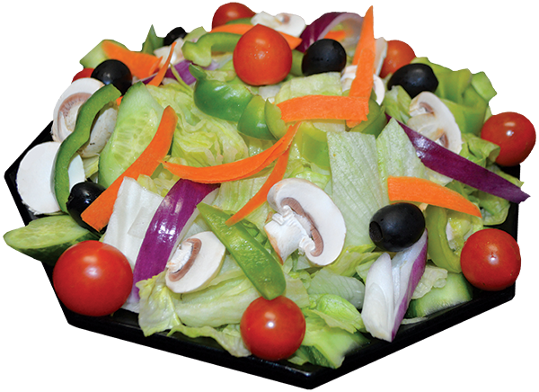 Lettuce, tomatoes, olives, bell peppers, carrots, onions, mushrooms, cucumber