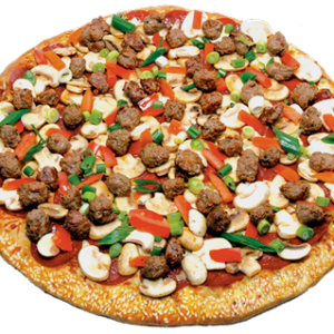 White sauce, pepperoni, Italian sausage, fresh mushrooms, fresh tomatoes, green onions, chopped garlic