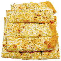 Pizza bread with creamy garlic sauce dusted with feta cheese and seasoning
