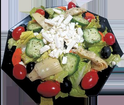 Romaine lettuce, Feta cheese, tomato, artichoke heart, olive, cucumber, carrot, oregano