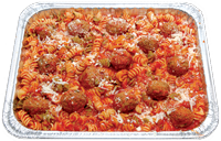 Oven-baked Rotini pasta topped with marinara sauce and seasoned meatballs