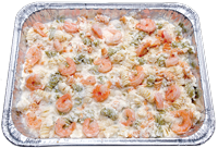 Oven baked Rotini pasta topped with creamy Alfredo sauce