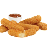 Deep fried cheese sticks. Crispy on the outside, gooey on the inside. Served with a side of marinara sauce